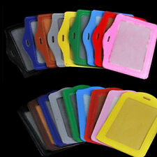 ID Card Badge Holder Vertical & Horizontal Leather Case and Lanyard Multi Color