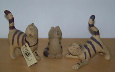 Collection of 3 Methil Moggie Cats By Earthen Images Pottery