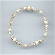 Exquisite Gold Filled Bracelet with Swarovski Rondelles & CREAM FAUX PEARLS