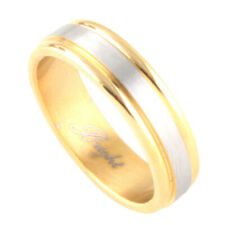 6mm Stainless Steel 316L Ring gold silver Two Tone Band / Gift box Ship from USA