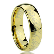 Men's 6mm Titanium Ring Laser Lord of Rings Yellow Color Band / Gift box