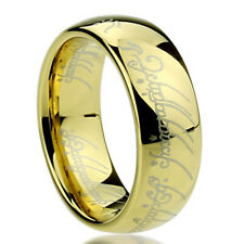 Men's 8mm Titanium Ring Laser Lord of Rings Yellow Color Band Gift box