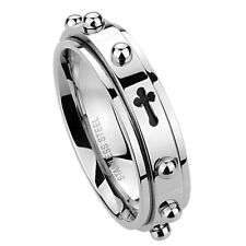 Men's 6mm Stainless Steel 316L Ring Cross Rosary Spinner Praying Band / Gift box