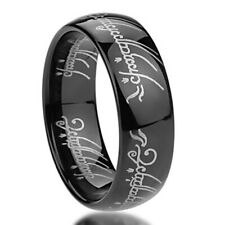 Men 6mm Stainless Steel 316L Ring Laser Lord of Rings Black Color Band/ Gift box