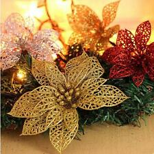 Artificial Hollow Out Glitter Flower Christmas Wreath Xmas Fern Tree Party Decor