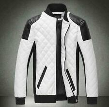 Punk Men's biker motorcycle slim faux leather stand collar Casual Jackets Coats#