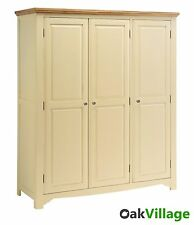 Dorchester Oak Cream Painted Triple Wardrobe / Large 3 Door Wardrobe / Brand New