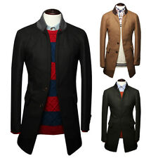 Mens Single Breasted Slim Fit Two Button Stylish Tweed Overcoats Windbreak