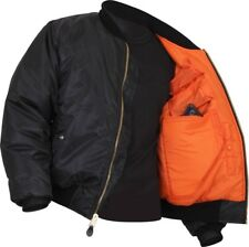 Black Concealed Carry Air Force MA-1 Reversible Bomber Coat Flight Jacket