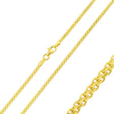 2mm 925 Sterling Silver Bismark Chain Necklace / 14K Gold Plated made in italy