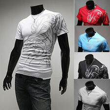 Mens T-Shirt New Men Casual Slim Fit Shirts Fashion Luxury Short Sleeve