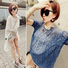 New Sexy Women Asymmetric Pullover Hollow Tops Blouse Shirt Cover Up Beach Dress