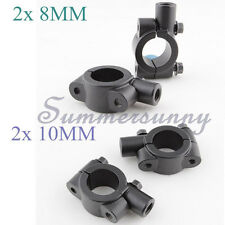 "2 x 8MM 10MM MIRRORS CLAMP ON MOUNT ADAPTER FIT 7/8"" HANDLEBAR DIRT SPORTS BIKES"