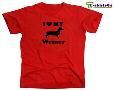 I HEART MY WEINER Love Dachshund Dog Cute Puppy Pet Funny T-Shirt - NEW - Red