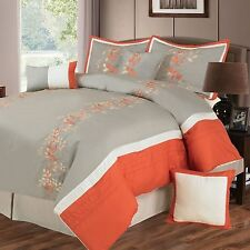 NEW Queen King Bed 7 pc White Orange Gray Embroidered Floral Comforter Set NWT
