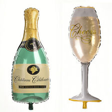 Champagne Bottle Glass Foil Balloons Happy Birthday & Wedding Party Decor JR