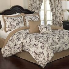 NEW Full Queen King Bed Tan Brown Ivory Floral Paisley 6pc Comforter Set Elegant
