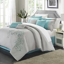 NEW Queen King Bed 12 pc Blue Gray Grey Floral Embroidered Comforter Sheets Set