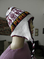 NWOT Made In Peru Alpaca Bended Thick Reversible Chullo Earflap Ski Hat #712-13