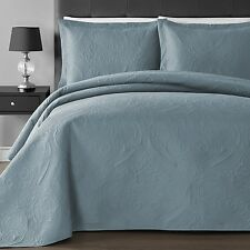 NEW Full Queen Cal King Size Bed Ocean Blue Coverlet Quilt Bedspread 3 pc Set