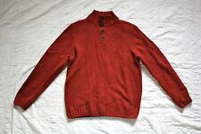 NWT NAUTICA Men's Wool Blend Pullover 1/4 Button Thick Knit Sweater RED LARGE