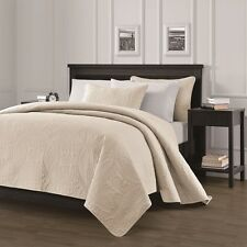 NEW Queen King Size Bed Coverlet Quilt Bedspread 3 pc Set Blanket Ivory Cream