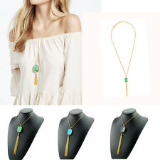 Natural Stone  Gold Plated Tassel Crystal Fashion Pendant Necklace Jewelry