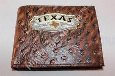 Real Leather Ostrich Embossed Western BIFOLD RODEO WALLET Cast Texas Concho
