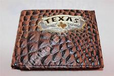 Real Leather Crocodile Embossed Western BIFOLD RODEO WALLET Cast Texas Concho
