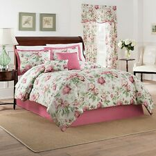 NEW Full Queen King Bed Red Pink Green Ivory Floral 6 pc Comforter Set Elegant