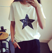 Blouse Casual Shirt Loose Pentagram Ladies Top New Women Summer Cotton