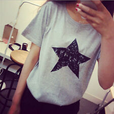Top Casual Shirt Loose Blouse Women Summer New Ladies Cotton Pentagram
