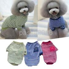 Pet Dog Cute Clothes Cotton Summer Stripe Pocket Shirt Puppy Cat T-Shirt Apparel