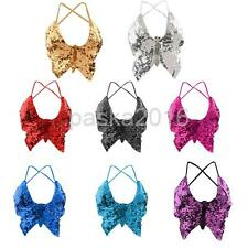 Phenovo Belly Dance Wear Butterfly Top Bra Sexy Dancing Costume Bling Stage Wear