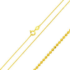 Men 925 Sterling Silver Italian Bead Chain Necklace Gold Plated made in italy
