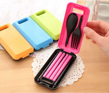 Spoon Fork Chopsticks Tableware Set Plastic Cutlery for Travel Camping Portable