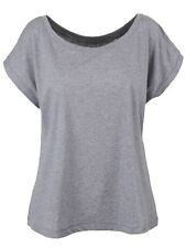 Organic Scoop Neck Oversized Heather Cropped Women's Grey T-shirt