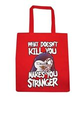 Psycho Penguin What Doesn't Kill You Makes You Stranger Red Tote Bag
