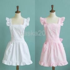 Women Retro Victorian Apron with Bib and Pockets Pinafore for Cooking Pink/White