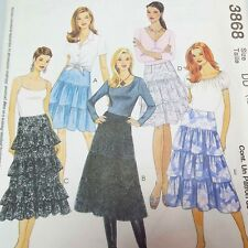 Misses Lined Tiered Ruffled Skirts Contrasting McCalls 3868 Sewing Pattern