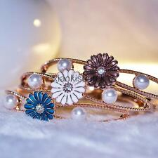 Fashion Rose Gold Plated Daisy Pearl Bangle Bracelet Cuff Jewelry Gift 3 Colors
