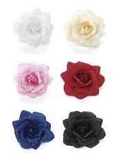 Coloured Glitter Edge Rose Flower Hair Elastic Bobble Band Beak Clip Fascinator
