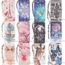 Cute Patterns Diamond Case for Samsung iPhone PU Leather Stand Wallet Cover Skin
