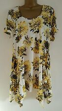 NEW Ex Yours Plus Size 16-32 Yellow White Black Hanky Hem Floral Print Tunic Top