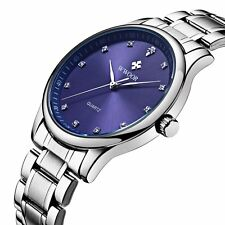 Ultra-thin Dial Stainless Steel Band Analog Quartz Men's Business Wrist Watch