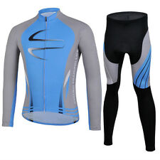 Blue Bicycle Jersey Set Long Sleeve Cycling Jakcet Top & Bike Pants / Tights XXL