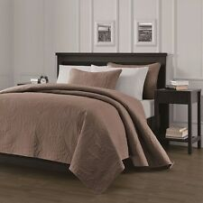 NEW Queen King Size Bed Coverlet Quilt Bedspread 3 pc Set Blanket Taupe Brown