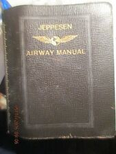 Rare Vintage Cowhide Leather Jeppesen Airway Route Manual Continental Airlines