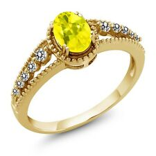 1.02 Ct Oval Canary Mystic Topaz White Diamond 14K Yellow Gold Ring