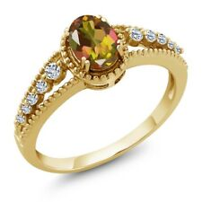 1.01 Ct Oval Mango Mystic Topaz White Topaz 14K Yellow Gold Ring